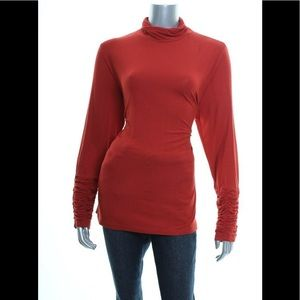 New Alfani Classic Rust Ruched Turtleneck Top XL